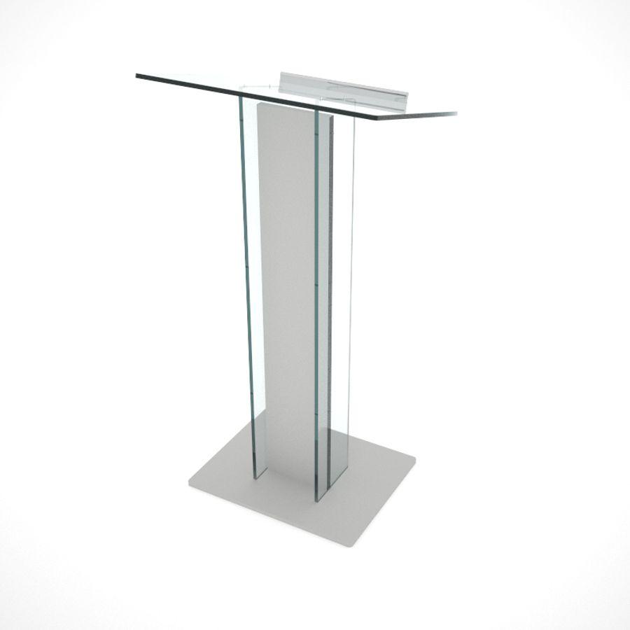 Pupitre de conférence plexiglas et bois gris avec tablette inclinée pour documents et micros
