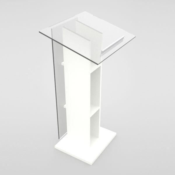 Pupitre orateur blanc en bois et plexiglas convenant pour des entreprises et collectivités