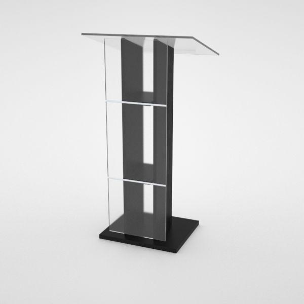 Pupitre orateur blanc en bois et plexiglas convenant pour chr et collectivités