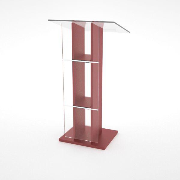Pupitre orateur rouge en bois et plexiglas pour conférence et événement d'entreprises