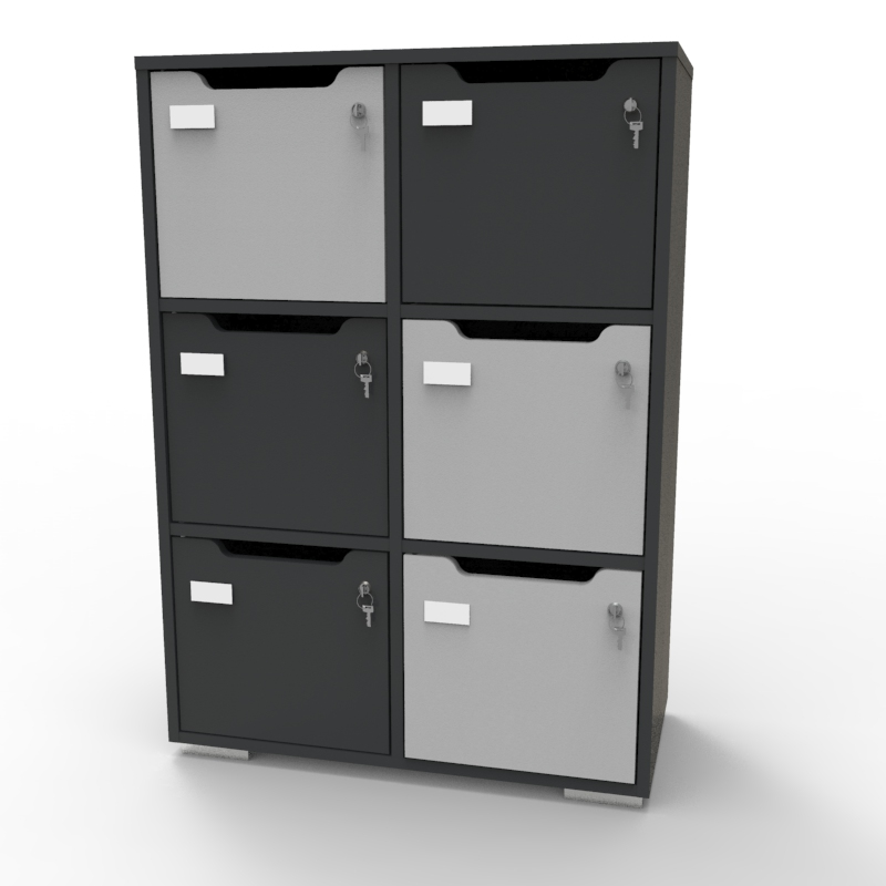 Meuble casier CASEO 6 cases en bois graphite gris