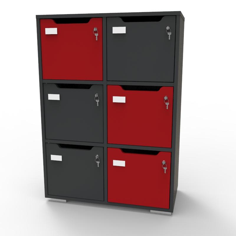 Meuble casier CASEO 6 cases en bois graphite rouge pour associations, conférence, collectivités