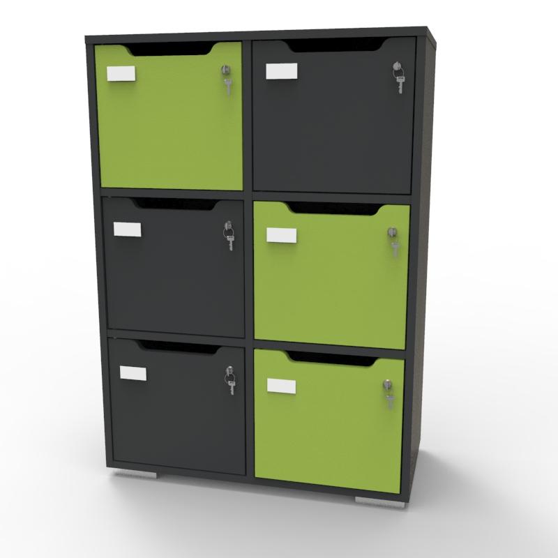 Meuble casier CASEO 6 cases en bois graphite vert