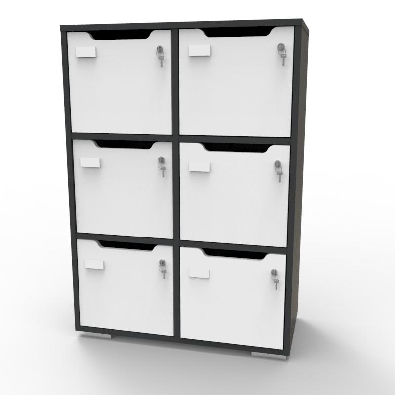 Meuble de rangement en bois graphite-blanc de qualité pour entreprise, association, école, université, collectivité