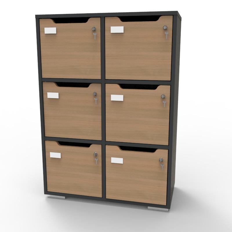 Meuble de rangement en bois graphite-chêne de qualité pour entreprise, association, école, université, collectivité