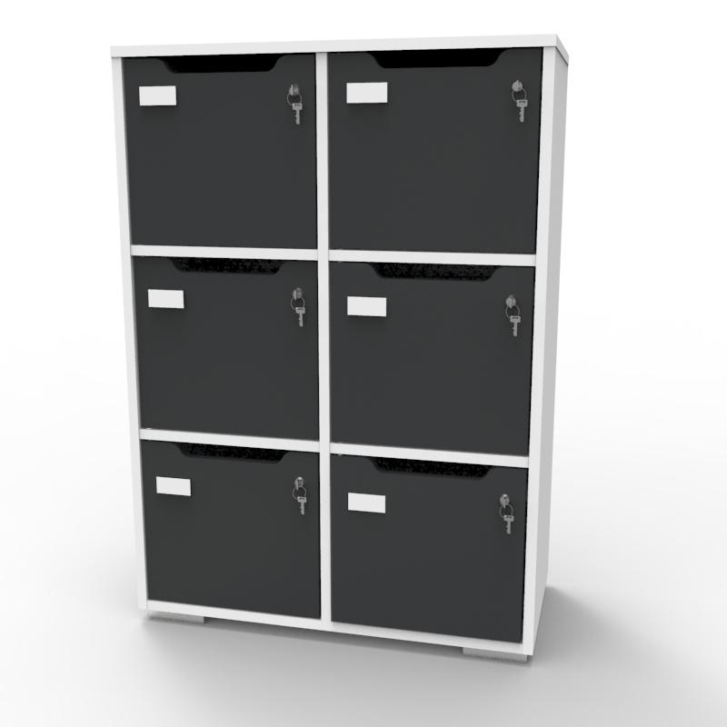 Meuble de rangement en bois blanc-graphite de qualité pour entreprise, association, école, université, collectivité