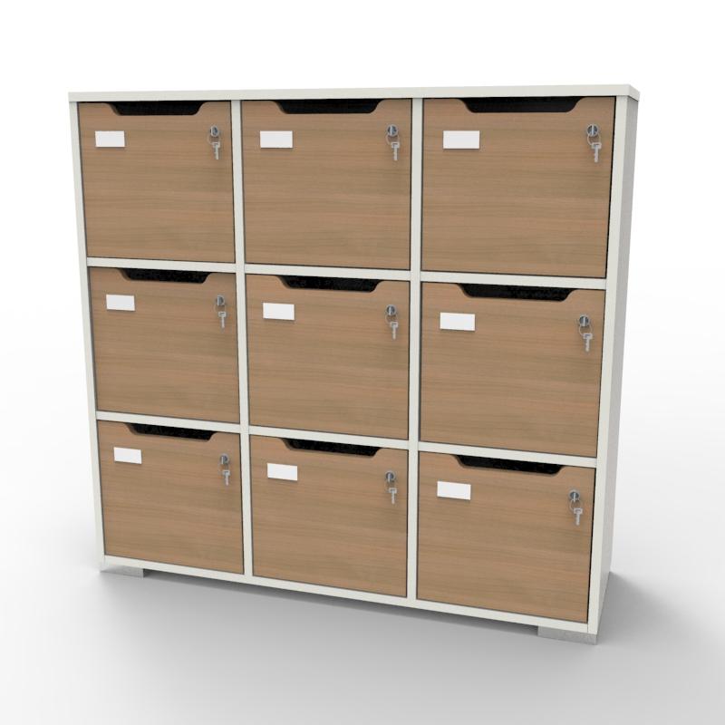 Meuble casier en bois disponible en plusieurs coloris au choix et correspondant aux attentes et besoins des vestiaires collectifs et salles de sport dans des entreprises et collectivités