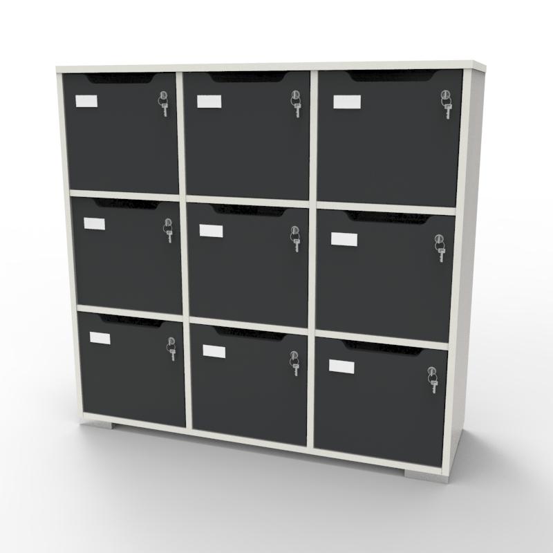 Meuble casier en bois blanc-graphite correspondant aux attentes et besoins des vestiaires collectifs et salles de sport dans des entreprises et collectivités