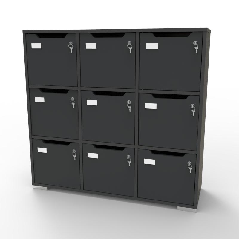 Meuble de rangement en bois graphite de qualité pour entreprise, association, école, université, collectivité