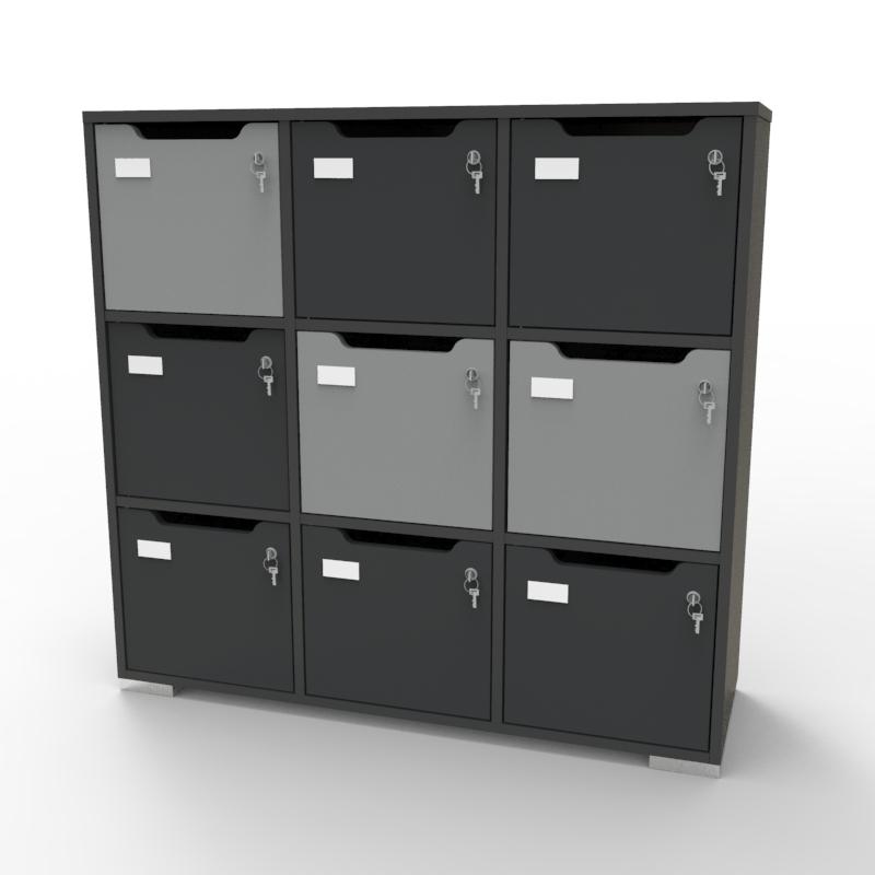 Meuble casier vestiaire CASEO Graphite Gris en bois pour entreprises