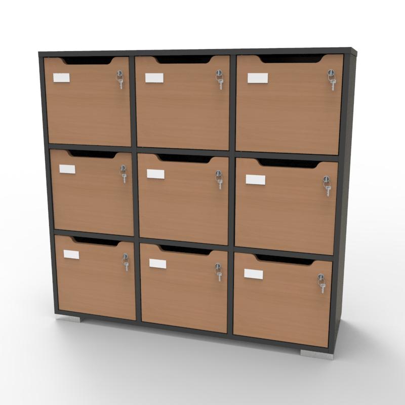 Meuble de rangement en bois graphite-hêtre de qualité pour entreprise, association, école, université, collectivité