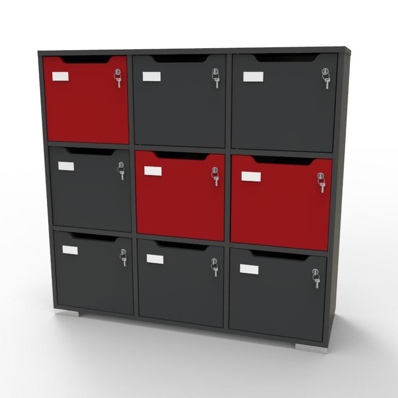 Meuble casier vestiaire CASEO Graphite Rouge en bois pour entreprises