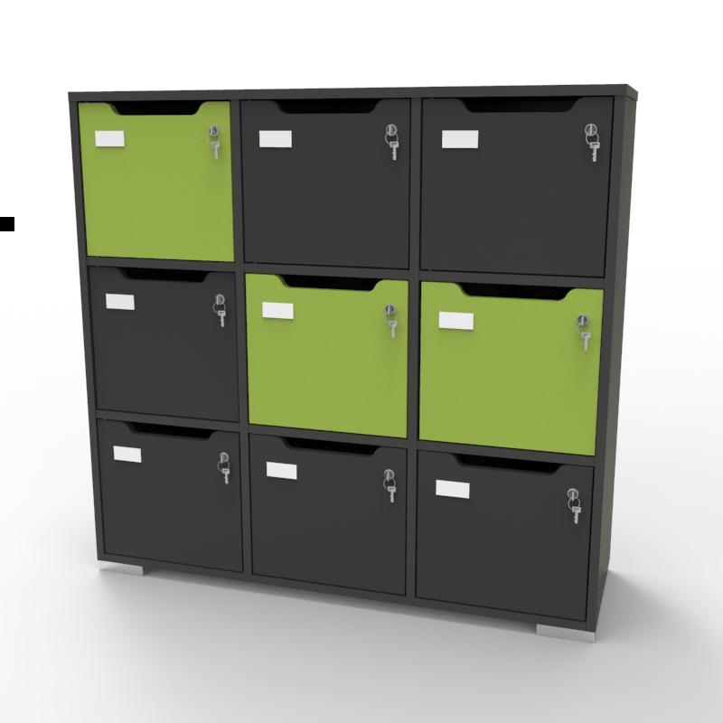 Meuble casier vestiaire CASEO Graphite Vert en bois pour entreprises