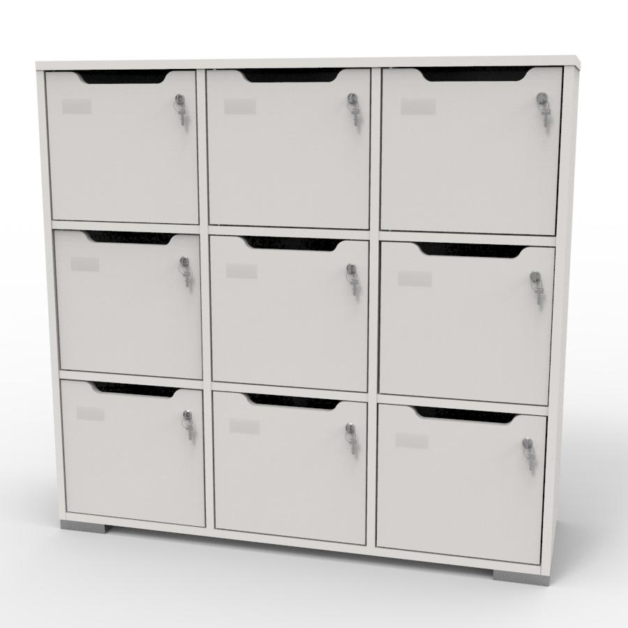 Meuble casier en bois blanc correspondant aux attentes et besoins des vestiaires collectifs et salles de sport dans des entreprises et collectivités