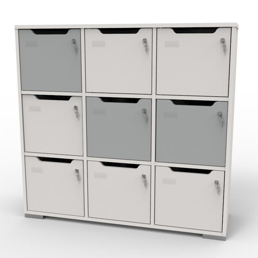 Meuble casier en bois blanc-gris correspondant aux attentes et besoins des vestiaires collectifs et salles de sport dans des entreprises et collectivités