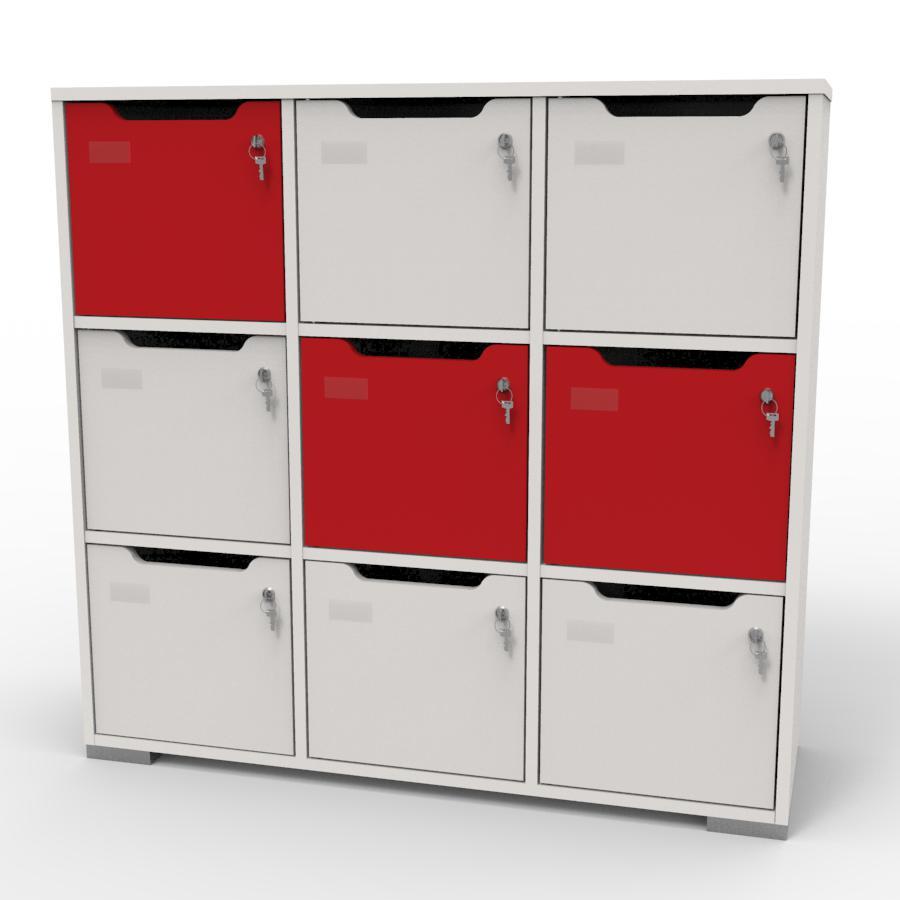 Meuble casier en bois blanc-rouge correspondant aux attentes et besoins des vestiaires collectifs et salles de sport dans des entreprises et collectivités