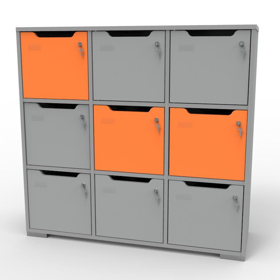 Vestiaire multicases bois gris et orange CASEO pour chr, entreprises