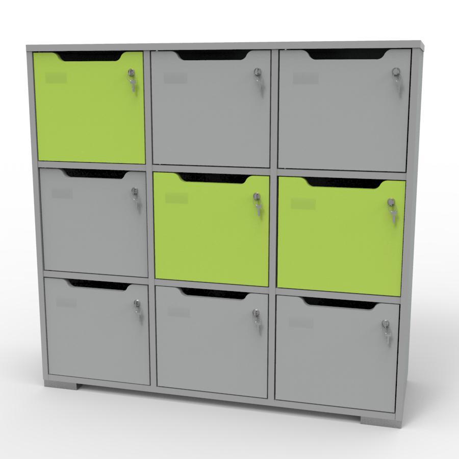 Vestiaire multicases bois gris et vert CASEO pour collectivités, entreprises, écoles