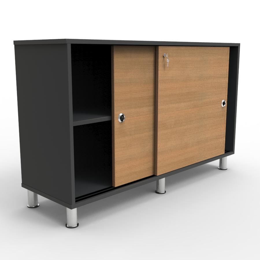 Armoire de rangement avec des portes coulissantes permettant de gagner de l'espace dans un bureau