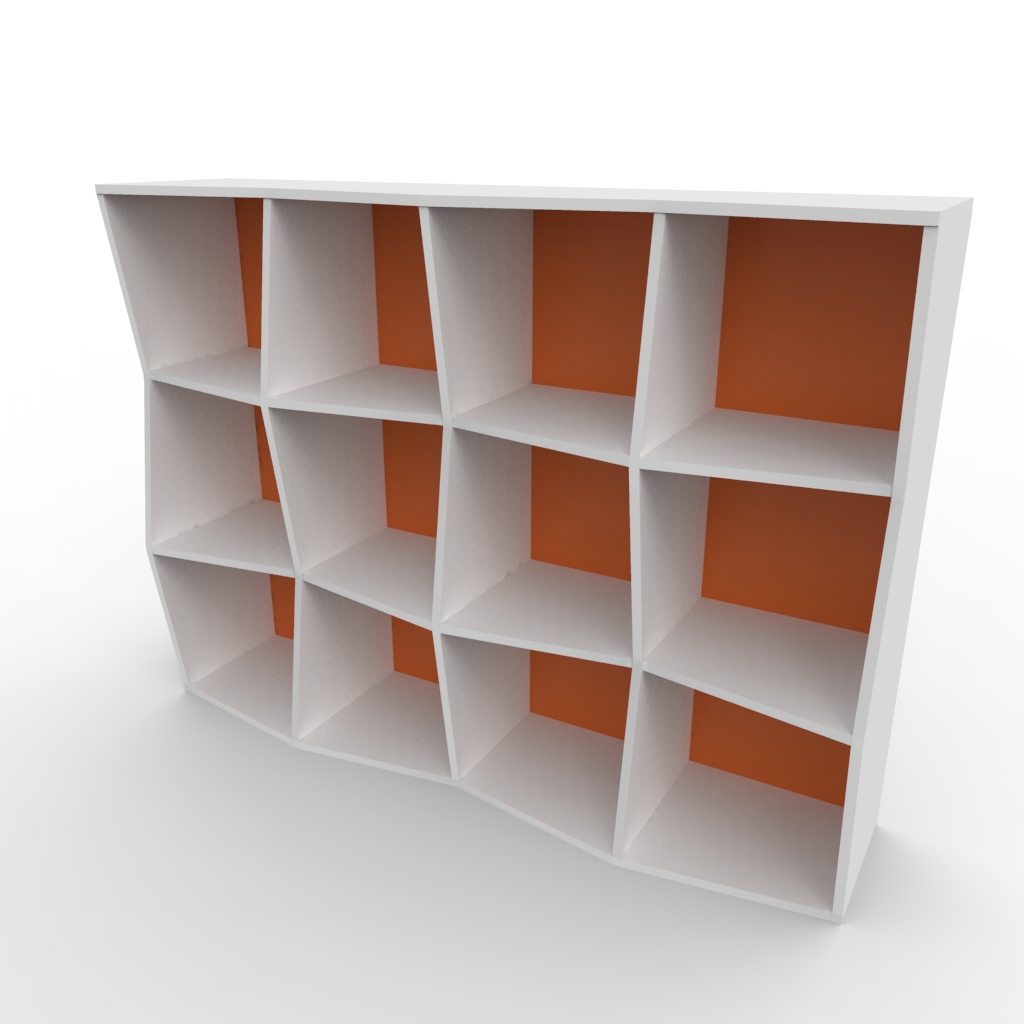 Étagère bibliothèque en bois blanc et orange avec 12 cases disponible en plusieurs coloris et formats au choix dédiée aux entreprises et collectivités / chr