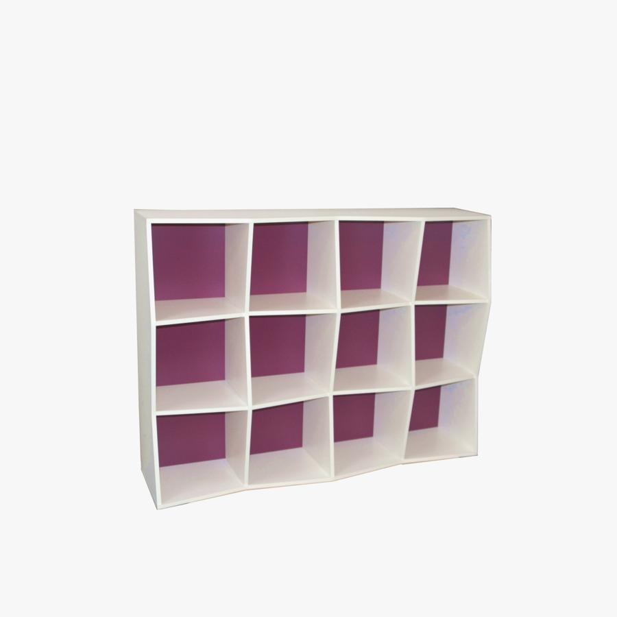 Étagère bibliothèque en bois blanc et violet avec 12 cases disponible en plusieurs coloris et formats au choix dédiée aux entreprises et collectivités / chr