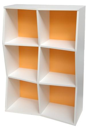 Etagere murale en bois orange de différentes couleurs pour entreprise, association, collectivité