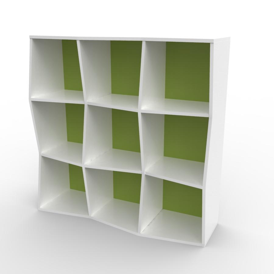 Étagère murale bois en blanc et vert composé de 9 cases et disponible en plusieurs formats et coloris au choix idéal pour les entreprises et associations / chr