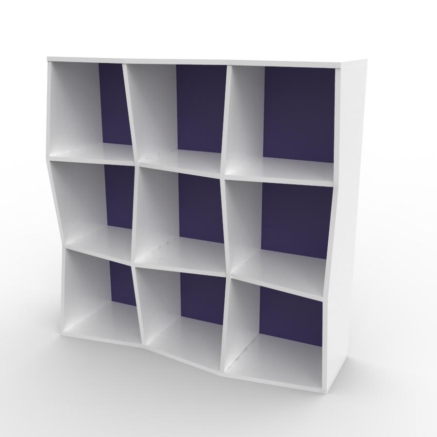 Étagère murale bois en blanc et violet composé de 9 cases et disponible en plusieurs formats et coloris au choix idéal pour les entreprises et associations / chr
