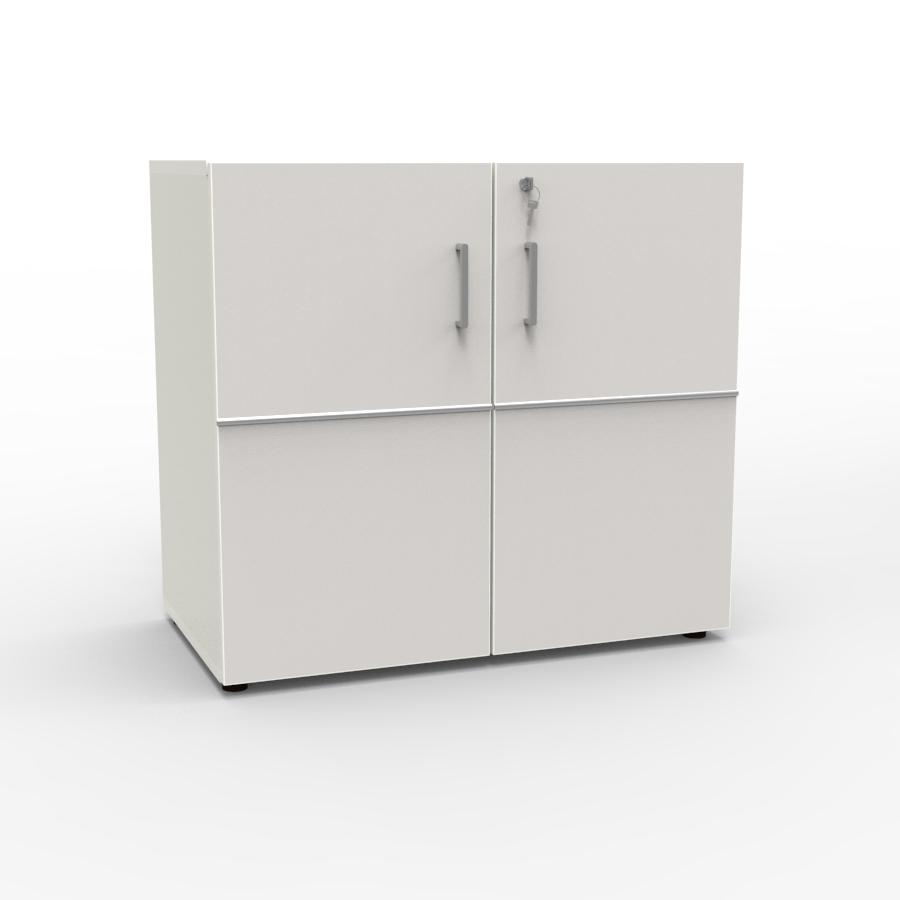 Meuble de rangement avec serrure blanc pour archives et classement dans des bureaux d'entreprise / collectivité ou association