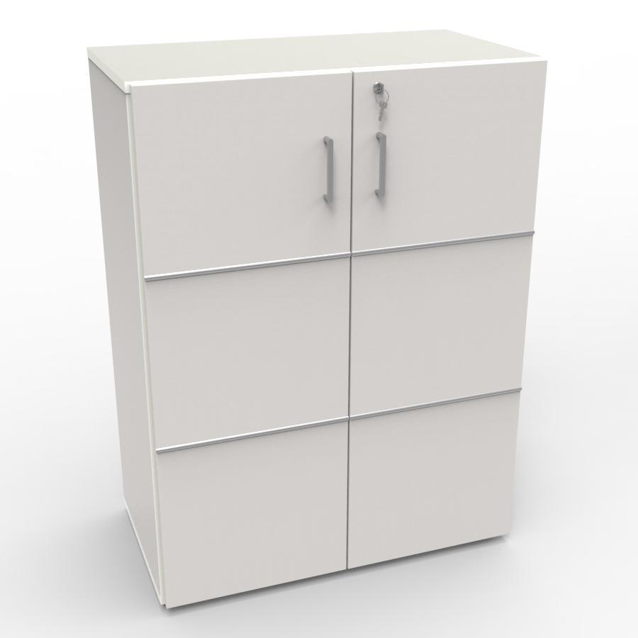 Meuble rangement avec serrure bois blanc pour entreprise, archive bureau