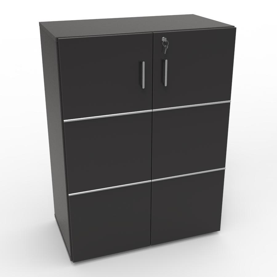 Meuble avec serrure pour rangement en bois noir idéal pour de l'archivage et du classement grâce à sa serrure à clé dédié aux collectivités et entreprises