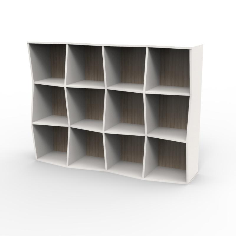 Étagère bibliothèque en bois blanc driftwood avec 12 cases disponible en plusieurs coloris et formats au choix dédiée aux entreprises et collectivités / chr