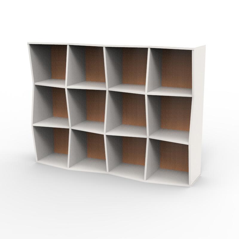 Étagère bibliothèque en bois blanc hêtre avec 12 cases disponible en plusieurs coloris et formats au choix dédiée aux entreprises et collectivités / chr