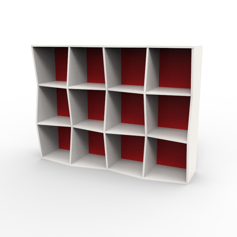 Étagère bibliothèque en bois blanc rouge avec 12 cases disponible en plusieurs coloris et formats au choix dédiée aux entreprises et collectivités / chr