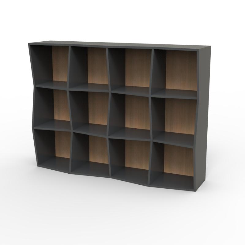 Étagère bibliothèque en bois graphite chêne avec 12 cases disponible en plusieurs coloris et formats au choix dédiée aux entreprises et collectivités / chr