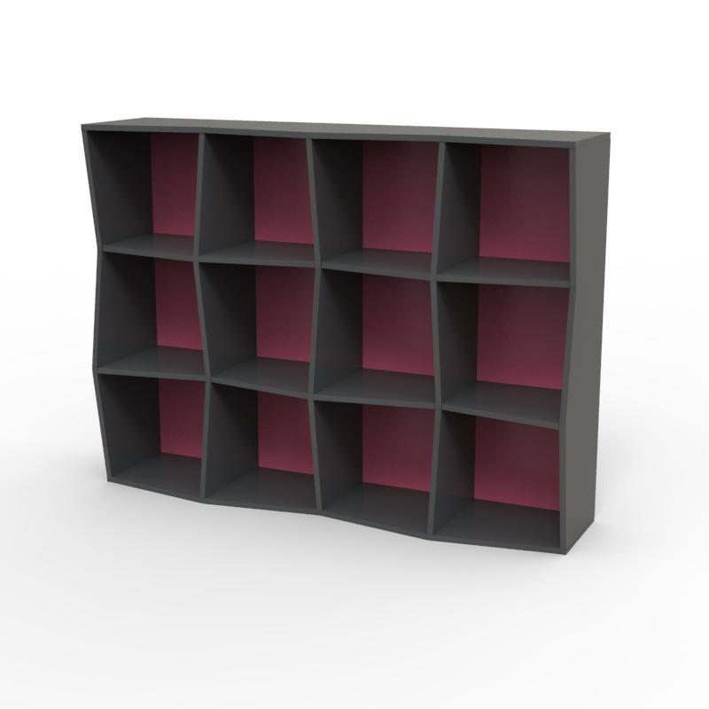 Étagère bibliothèque en bois graphite fushia avec 12 cases disponible en plusieurs coloris et formats au choix dédiée aux entreprises et collectivités / chr