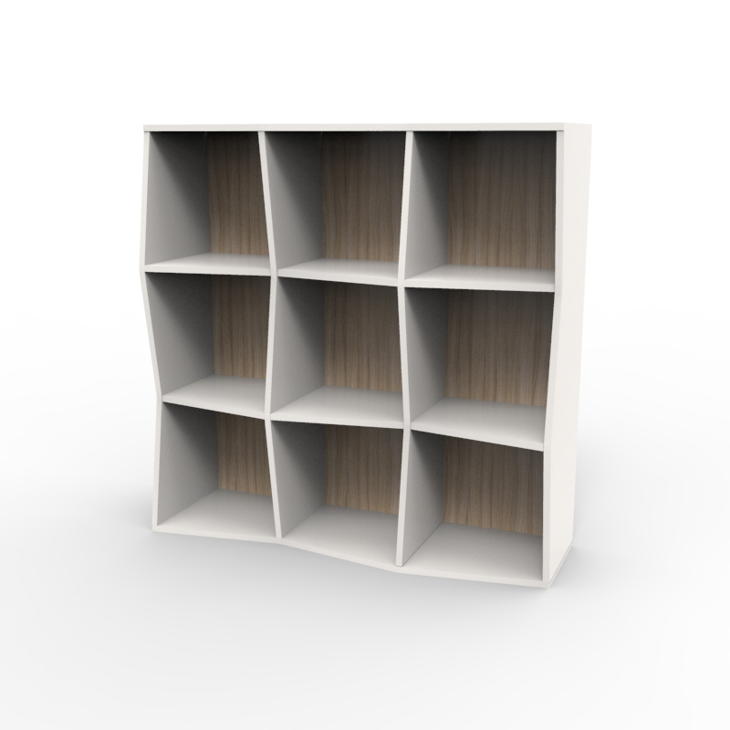 Meuble de rangement avec étagères en bois et fond de bois