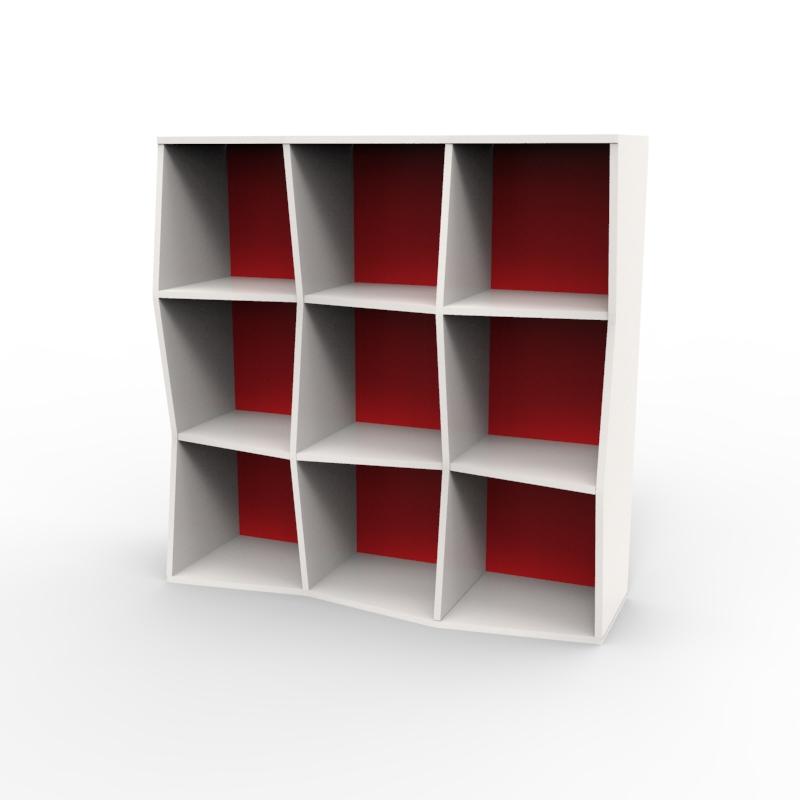 Étagère murale bois en blanc et rouge composé de 9 cases et disponible en plusieurs formats et coloris au choix idéal pour les entreprises et associations / chr
