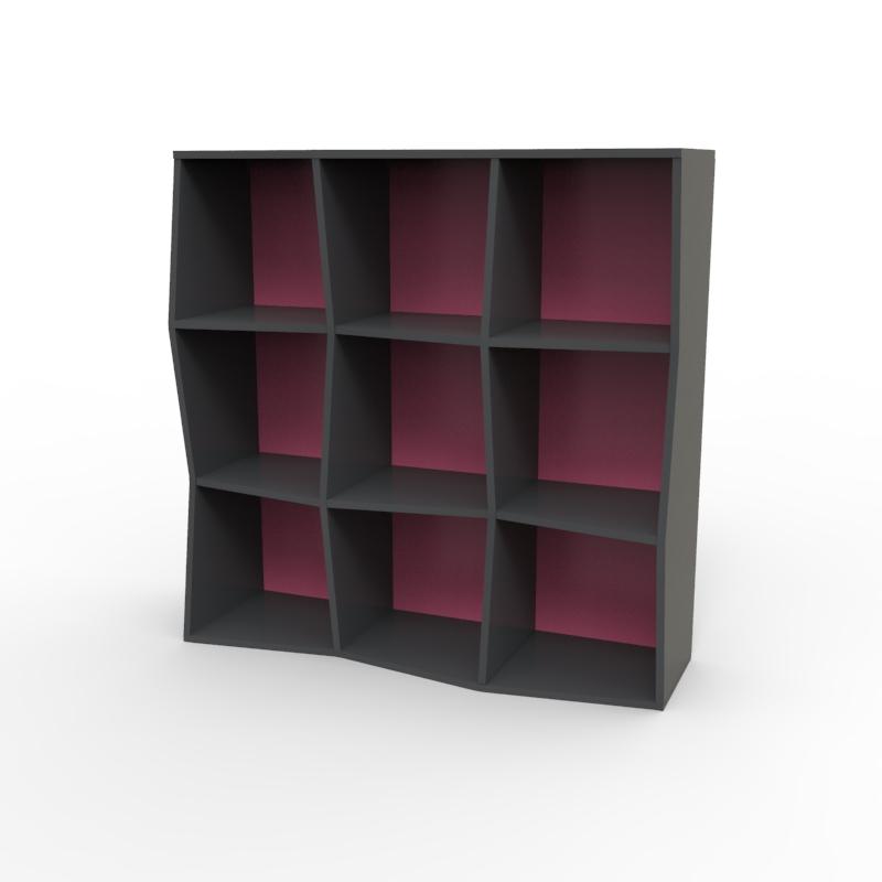 Etagère avec corps en bois et coloris de fond de meuble