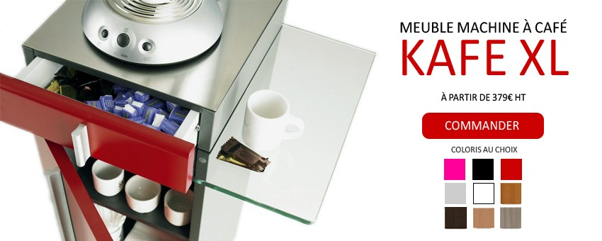 Meuble de bureau Design pour machine à café expresso avec rangements et tablette en verre. Façades en mélaminé de couleur au choix : rouge, blanc, noir, wengé, gris clair, hêtre, Driftwood