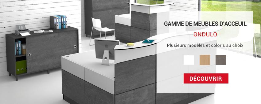 Gamme mobilier d'accueil et bureau pour entreprise au design chic et sobre.